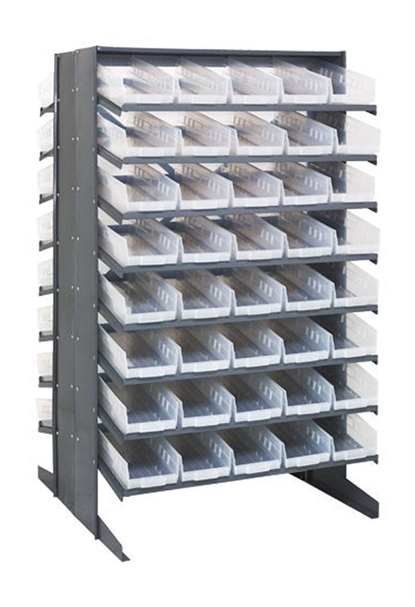 Quantum 80 QSB104CL Clear-View Bin Storage Sloped Shelving Double-Sided Pick Rack System 24