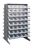 "Quantum 80 QSB104CL Clear-View Bin Storage Sloped Shelving Double-Sided Pick Rack System 24"" X 36"" X 60"""