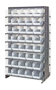 "Quantum QPRD-201CL Double-Sided 80 QSB204CL Clear Bin Storage Pick Rack System 36"" D X 36"" W X 60"" H"
