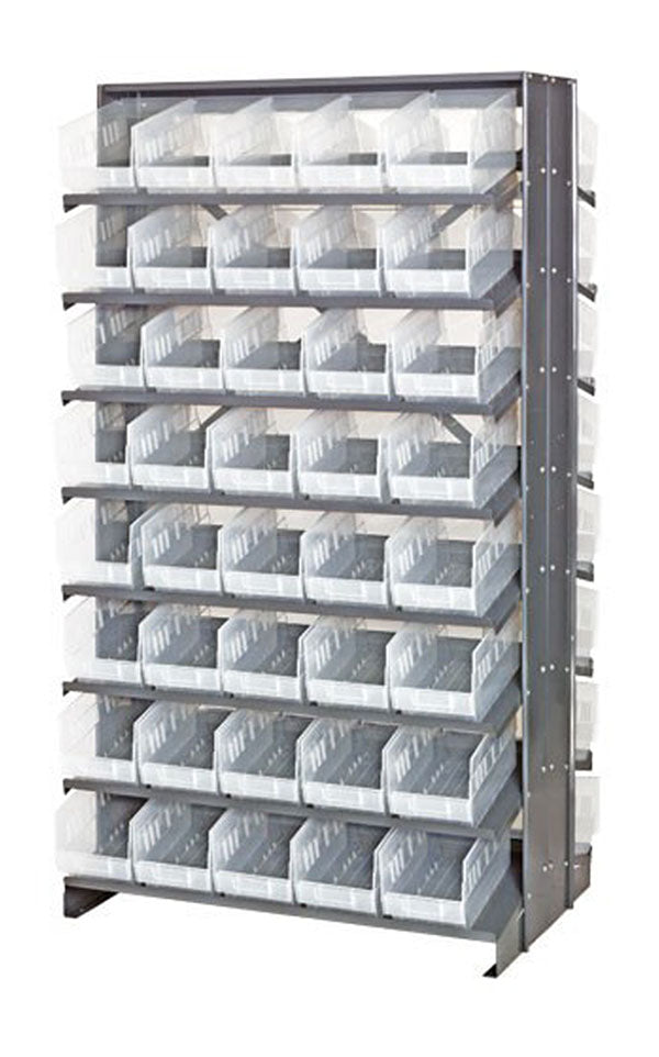 Quantum QPRD-201CL Double-Sided 80 QSB204CL Clear Bin Storage Pick Rack System 36