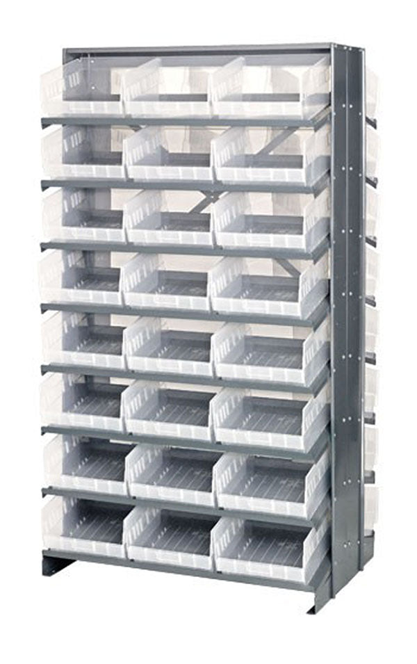 "Quantum QPRD-201CL Double-Sided 48 QSB210CL Clear Bin Storage Pick Rack System 36"" D X 36"" W X 60"" H"