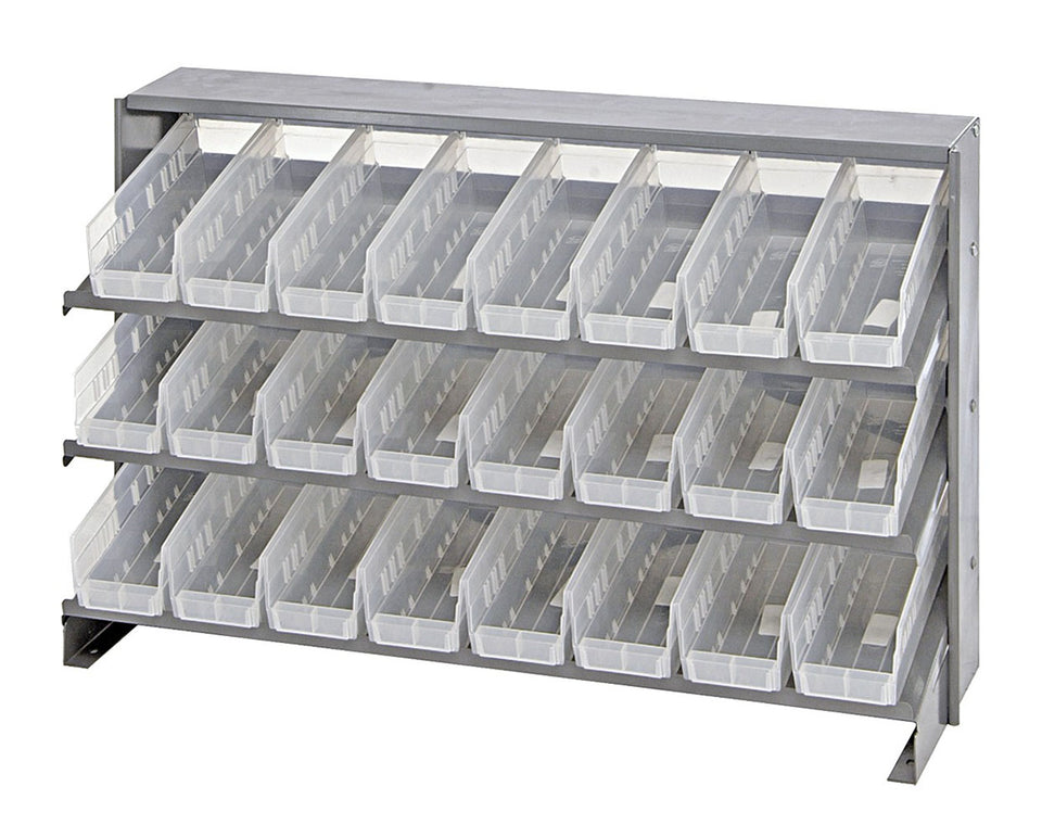 "Quantum 24 QSB101CL Clear-View Bin Storage Sloped Shelving Bench Pick Rack System 12-1/2"" X 36"" X 23"""