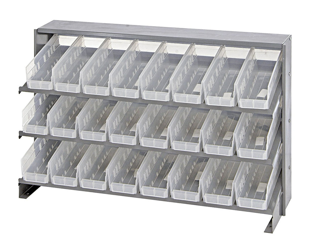 Quantum 24 QSB101CL Clear-View Bin Storage Sloped Shelving Bench Pick Rack System 12-1/2