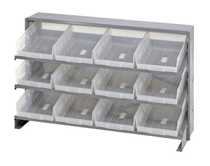 "Quantum 12 QSB107CL Clear-View Bin Storage Sloped Shelving Bench Pick Rack System 12-1/2"" X 36"" X 23"""