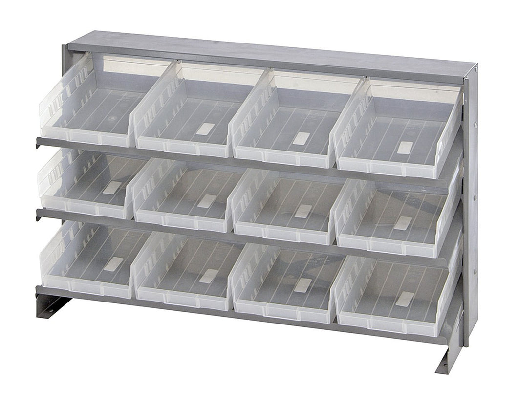 Quantum 12 QSB107CL Clear-View Bin Storage Sloped Shelving Bench Pick Rack System 12-1/2