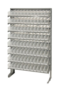 "Quantum 96 QSB100CL Clear-View Bin Storage Sloped Shelving Single-Sided Pick Rack System Systems 12"" X 36"" X 60"""