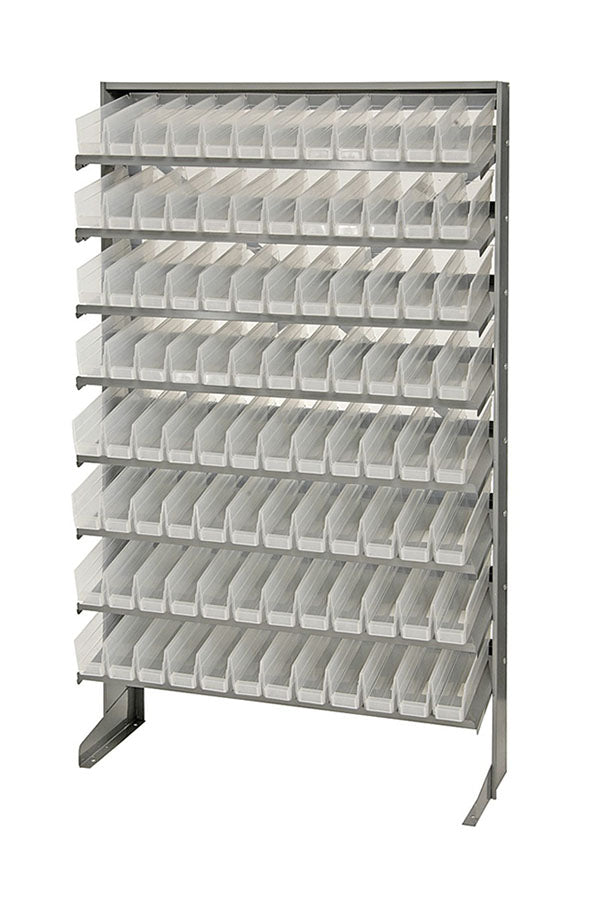Quantum 96 QSB100CL Clear-View Bin Storage Sloped Shelving Single-Sided Pick Rack System Systems 12