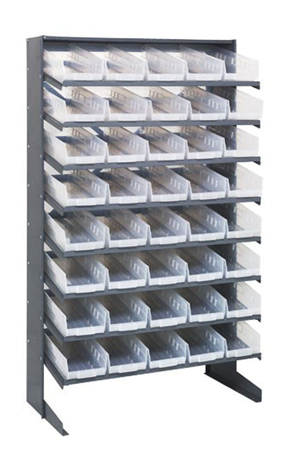 "Quantum 40 QSB104CL Clear-View Bin Storage Sloped Shelving Single-Sided Pick Rack System 12"" X 36"" X 60"""