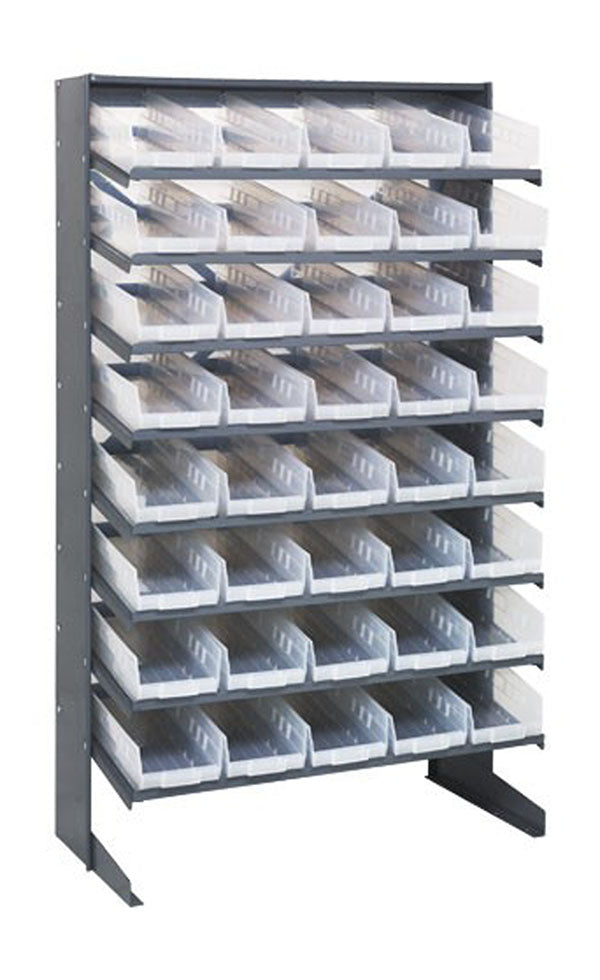 Quantum 40 QSB104CL Clear-View Bin Storage Sloped Shelving Single-Sided Pick Rack System 12