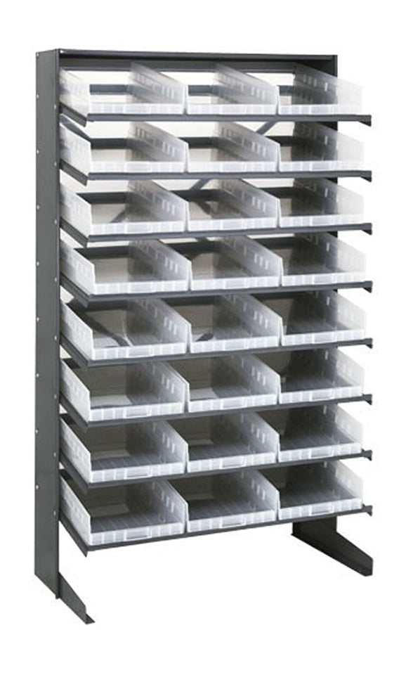 "Quantum 24 QSB110CL Clear-View Bin Storage Sloped Shelving Single-Sided Pick Rack System 12"" X 36"" X 60"""