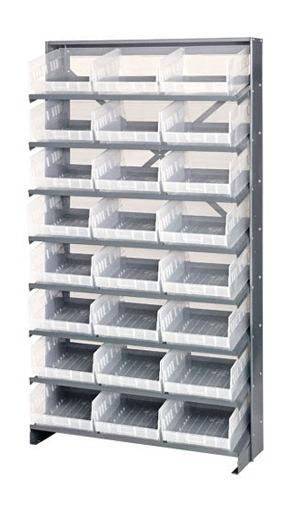 Quantum QPRS-209CL Single-Sided 24 QSB209CL Clear Bin Storage Pick Rack System 12