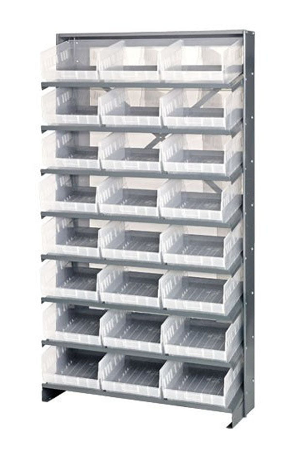 "Quantum QPRS-210CL Single-Sided 24 QSB210CL Clear Bin Storage Pick Rack System 24"" D X 36"" W X 60"" H"