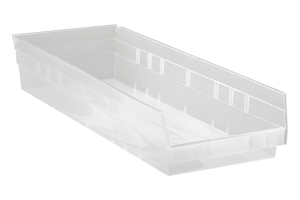 "Quantum Clear View Durable High Density Economy Shelf Storage Bin 23 5/8""L x 8 3/8""W x 4""H"