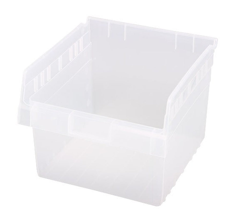 "Quantum QSB809CL Store-MAX Shelf Bin, 11-5/8"" Length x 11-1/8"" Width x 8"" Height, Clear, Pack of 8"