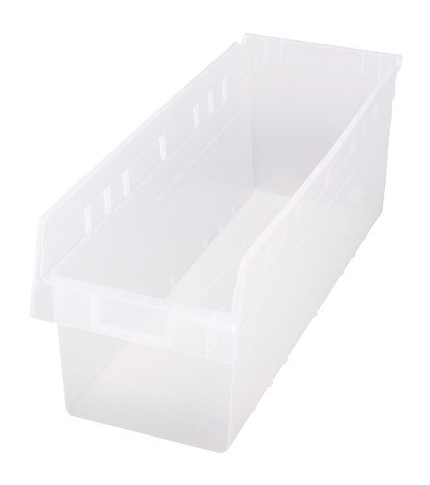 "Quantum QSB816CL Store-MAX Shelf Bin, 23-5/8"" Length x 11-1/8"" Width x 8"" Height, Clear, Pack of 6"