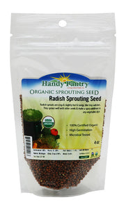 Organic Radish Sprouting Seeds -1/4 Lbs (4 Oz)- Radish Seed for Sprouting Sprouts, Cooking, Soup, Food Storage, Hydroponics, Gardening & More