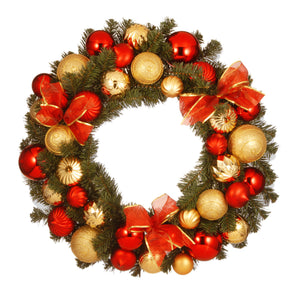 "30"" Red and Gold Ornament Wreath"