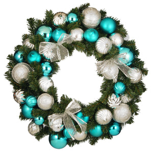 "30"" Silver and Blue Ornament Wreath"
