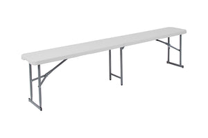 "Flash Furniture 10.25""W x 71""L Bi-Fold Granite White Plastic Bench with Carrying Handle"