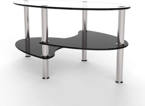 Rove Lifestyle Broadway 38 Inch Oval Two Tier Clear and Black Glass Coffee Table