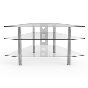 Ryan Rove Ruby Corner TV Stand with Cable Management - Wall Decor and Entertainment Center - 3-Tier Silver and Clear Glass Shelf - Flat Screen, DVD Player, Gaming Console and Soundbar Table - 44 Inch