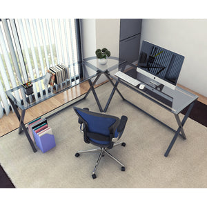 Ryan Rove Keeling X Glass Large Modern L-Shaped Desk Corner Computer Office Desk for Small PC Laptop Study Table Workstation Home Office with Keyboard Shelf - Black Frame, Clear Glass