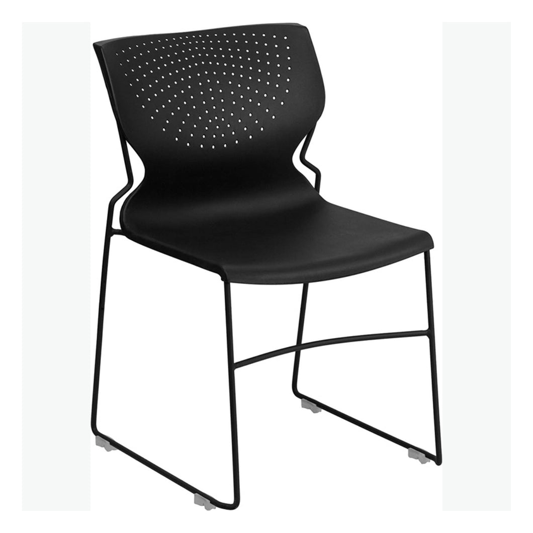 Flash Furniture HERCULES Series 661 lb. Capacity Black Full Back Stack Chair with Black Powder Coated Frame