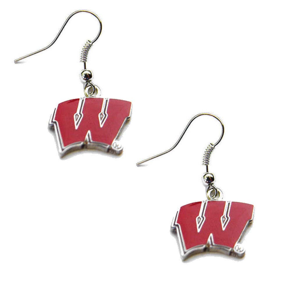 aminco Wisconsin Badgers Dangle Logo Earring Set NCAA Charm Gift