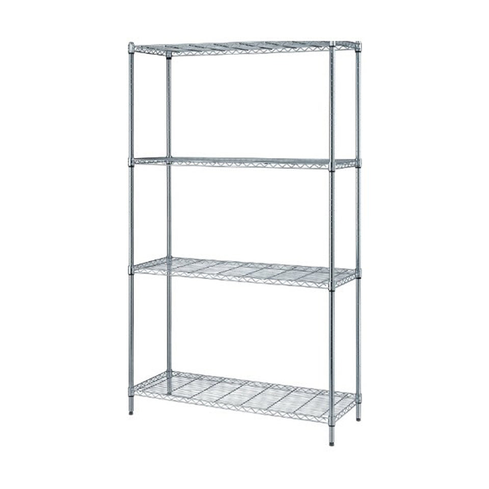 "Quantum 4-Shelf Wire Shelving Storage Unit Chrome Finish 18"" W X 30"" L X 72"" H"