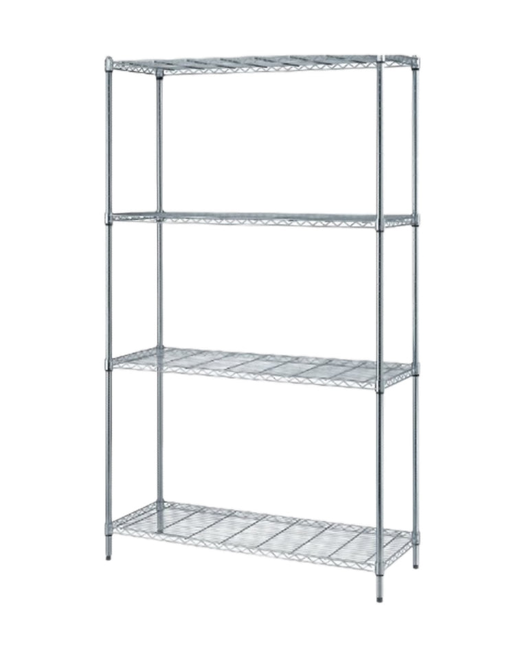 "Quantum Storage 4-Shelf Wire Shelving Unit, 300 lb. Load Capacity per Shelf, 72"" H x 48"" W x 24"" D, Chrome Finish"