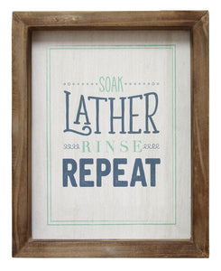"Stratton Home Decor ""Soap Lather Rinse Repeat"" Wall Art"