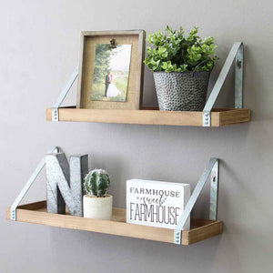Stratton Home Decor Set of 2 Wood & Metal Shelves