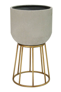 Stratton Home Decor Soho Metal Plant Stand - Gray, gold