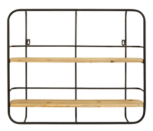 Stratton Home Decor Metal and Wood Wall Shelf - Black, natural wood