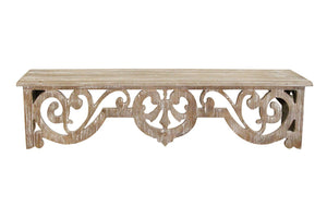 Stratton Home Decor Vintage Wood Scroll Wall Shelf - Natural Wood