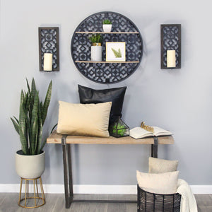 Stratton Home Decor Set of 2 Boho Laser Cut Sconce - Black