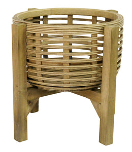 Stratton Home Decor Rattan Plant Stand - Natural wood