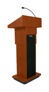 Amplivox Adjustable Height Sound Column Lectern - Walnut