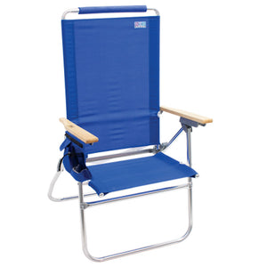 Rio Beach Hi-Boy High Back Beach Chair, Solid Blue