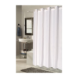 Carnation Home Fashions EZ On No Hooks Needed! 54 by 78-Inch Fabric Shower Curtain, Stall Size, Checks in White