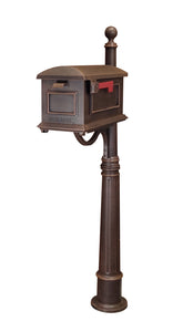 Traditional Curbside Mailbox with Ashland Mailbox Post Unit - Copper