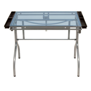 Studio Design Folding Craft Station - Silver / Blue Glass