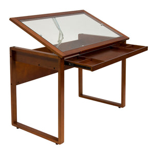 Studio Designs Ponderosa Glass Topped Table in Sonoma Brown
