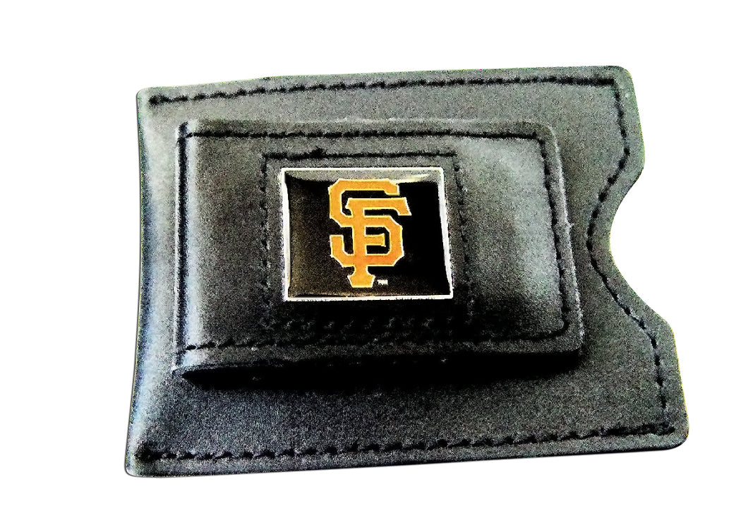 MLB SAN Francisco Giants Black Leather Money Clip Card Holder