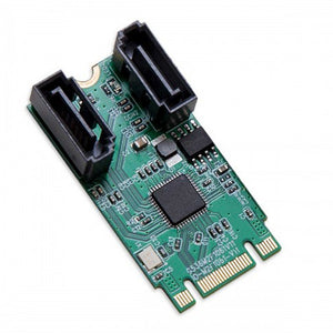 I/O Crest M.2 B+M Key 22x42 PCIe Bus to 2 Ports SATA 6 G III RAID Controller Adapter Card Chipset ASM1061R