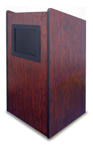 AmpliVox Mobile Executive Stand Up Visionary Floor Lectern With 2 Storage Shelves and 4 Casters Mahogany