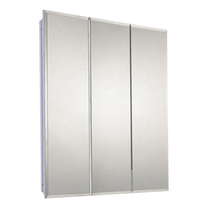 Tri-View Series Partially Recessed Three Door Medicine Cabinet Beveled Edge Mirror