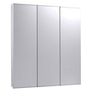 Tri-View Series Partially Recessed Three Door Medicine Cabinet Stainless Steel Trim