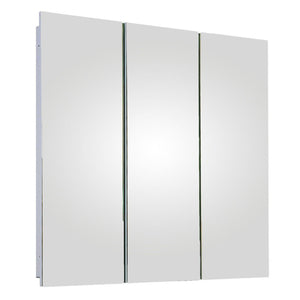 Tri-View Series Partially Recessed Three Door Medicine Cabinet Polished Edge Mirror