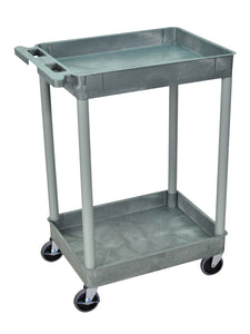 Luxor/H.Wilson 2 Tub Shelf Utility Cart, Gray (STC11-G)